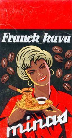 Famous packaging of Franck minas coffee, designed by Zvonimir Faist, the end of 1940s.  Franck is the famous Croatian coffee and snack producer. Zvonimir Faist created the trademark of the packaging of this widely used domestic product. Source: Zvonimir Faist, The dictates of the time, posters from the late 1930s to 1960s, exhibition catalog, Zagreb City Museum