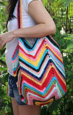 Bright Multicolor crochet market bag Colorful crochet beach