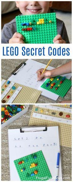 Write coded messages with LEGO Bricks, # Secret code! Write coded messages with LEGO Bricks Secret code! Write coded messages with LEGO Bricks, # Secret code! Write coded messages with LEGO Bricks Lego Projects, Projects For Kids, Crafts For Kids, Lego Club, Literacy Activities, Toddler Activities, Space Activities, Activity Games, Van Lego
