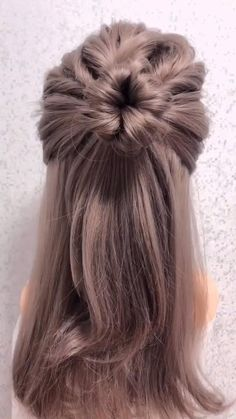 hair goals videos me for more hairstyles tutorial. Bun Hairstyles For Long Hair, Fast Hairstyles, Weave Hairstyles, Hairstyles Videos, Office Hairstyles, Anime Hairstyles, Stylish Hairstyles, Hairstyles For Women, Running Late Hairstyles