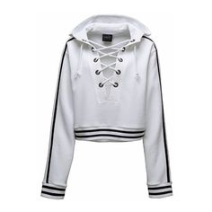Fenty White Hoodie (550 RON) ❤ liked on Polyvore featuring tops, hoodies, white, thick hooded sweatshirts, white eyelet top, lace up hooded sweatshirt, white hoodie and lace-up tops