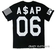 37f932199f59 ASAP ROCKY VSVP behind 06 numbers of high-quality cotton short-sleeved T-shirt  black and white PYREX