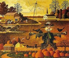 Canadian Cave of Coolness: 31 Days of Halloween - by Charles Wysocki Fete Halloween, 31 Days Of Halloween, Vintage Halloween, Happy Halloween, Halloween Scarecrow, Halloween Artwork, Halloween Pictures, Naive Art, Paint By Number