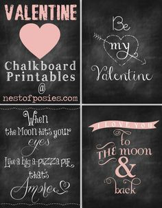 Pop one of these sweet freebies in a frame for instant Valentine's Day decoration. Valentine Chalkboard Printables via Nest of Posies My Funny Valentine, Valentine Day Love, Valentine Day Crafts, Printable Valentine, Valentine Banner, Valentine Party, Valentine Nails, Valentine Ideas, Valentines Decoration