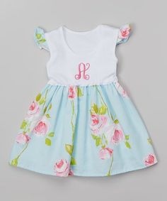 White & Blue Flower Initial Dress - Infant & Toddler