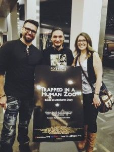"""Charles """"Saali"""" Keelan, who portrays Abraham Ulrikab in the documentary Trapped in a Human Zoo, surrounded by his friends Jaaji and Chelsey June of the duo Twin Flames. Jaaji and Chelsey co-authored the song Isuma which is part of the film's soundtrack."""