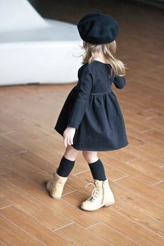 All black with construction boots. #kids #fashion