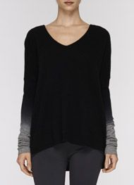 Ombre Sleeve V-Neck Sweater