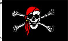 Flags Importer - Red Bandana Jolly Roger Flag 3x5ft Poly, $9.95 (http://www.flagsimporter.com/red-bandana-jolly-roger-flag-3x5ft-poly/)