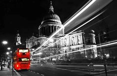 London bus black and white photography selective colour
