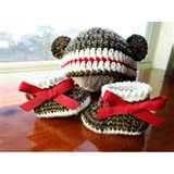Image detail for -Crochet Simple Sock Monkey Hat and Baby Booties