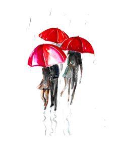 Watercolor painting rain red umbrella romantic giclee by ZarStudio