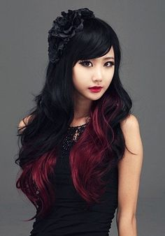 HI GIRL Synthetic Women Curly Wavy Black with Wine Cosplay Party Long Hair Full Wig