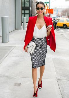 Shop this look for $142:  http://lookastic.com/women/looks/blazer-and-heels-and-satchel-bag-and-tank-and-pencil-skirt/2302  — Red Blazer  — Red Suede Pumps  — White Leather Satchel Bag  — White Silk Tank  — Black and White Polka Dot Pencil Skirt