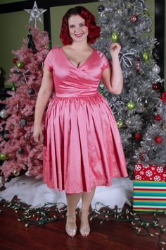 Pinup Couture - Ava Swing Dress in Pink Taffeta | Pinup Girl Clothing