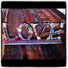TheVirginRose - Etsy    Wood mosaic LOVE letters // Mixed media