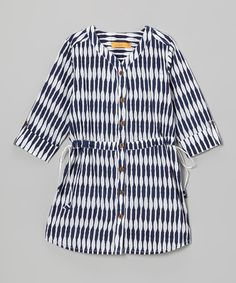 Take a look at this Ode Navy & White Sasha Button-Up Dress - Girls on zulily today!
