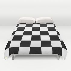Black And White Checks Duvet Cover by KCavender Designs - $99.00