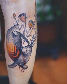 Joanna Swan Dzo Lama Katzentattoo - New Sites Pretty Tattoos, Beautiful Tattoos, Cool Tattoos, Arrow Tattoos, Tatoos, Mini Tattoos, Body Art Tattoos, Ankle Tattoos, Zen Tattoo