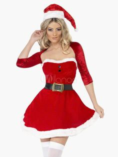 e41cbacbd831c Sexy Christmas Santa Clause Costume Red Slim Fit Skater Dress With Top And  Hat Halloween