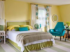 Sunny, happy yellow works very well in the bedroom, as long as its natural exuberance is toned down with other colors.