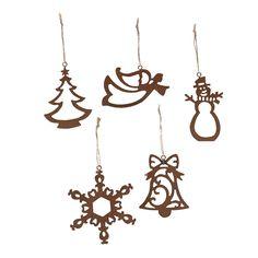 """Laser-Cut Ornaments, rustic metal, 3"""" - 4"""" OrientalTrading.com $6/5 piece set"""