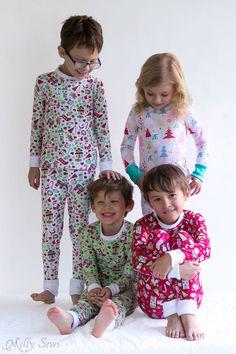DIY Sew knit kids Christmas pajamas - with FREE pattern! - Melly Sews  Pigiama Natalizi f528b7dc7ad