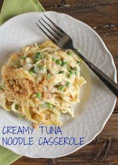Creamy Tuna Noodle Casserole, quick, easy and so creamy, a delicious healthy tuna casserole recipe.  / anitalianinmykitchen.com