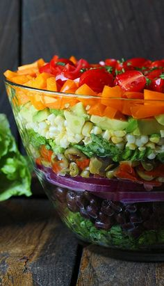 Seven Layer Salad with Creamy Salsa Vinaigrette -- Make this beauty for a light summer supper or be the star of your next potluck!