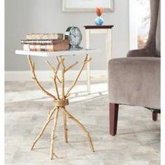 "22"" high http://www.overstock.com/Home-Garden/Hidden-Treasures-White-Granite-Brass-Accent-Table/6811738/product.html?CID=214117 $297.89"