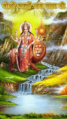 Jay Mata Di Durga Maa, Durga Goddess, Navratri Images, Happy Navratri, Radha Krishna Wallpaper, Radha Krishna Pictures, Krishna Painting, Good Morning Gif, Divine Mother