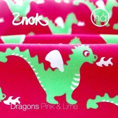Znokdesign Scandinavian fabric. Organic jersey knit. Dragons.