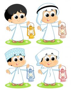 Illustration about Arab children carrying Ramadan lanterns. Illustration of card, asia, fanoos - 84340808 Ramadan Cards, Ramadan Greetings, Eid Stickers, Cool Stickers, Happy Cartoon, Cartoon Kids, Eid Boxes, Ramadan Kareem Pictures, Ramadan Lantern