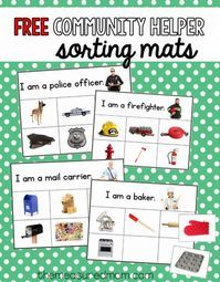 This free community helpers sorting activity is so much fun! It would be great to use with a community helpers theme in preschool or kindergarten. Sorting Activities, Preschool Themes, Preschool Lessons, Preschool Classroom, Kindergarten, Space Activities, Classroom Ideas, Community Helpers Activities, Community Workers