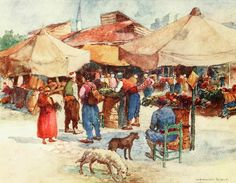 """'Market at Scutari' from """"Constantinople painted by Warwick Goble"""" (1906)"""