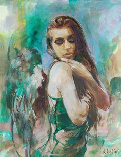 Angel Gouache painting by Aleksandra Galas Gouache Painting, Mixed Media Painting, Pastel, Watercolor, Portrait, Disney Characters, Artworks, Atelier, Idea Paint