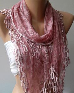 Pink Lace and Elegance Shawl / Scarf - with Lace Edge,,