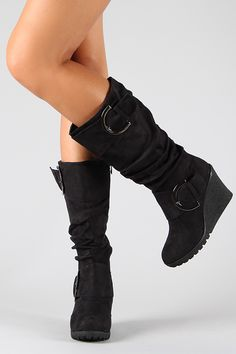Slouchy Buckle Knee High Wedge Boot - BUDI