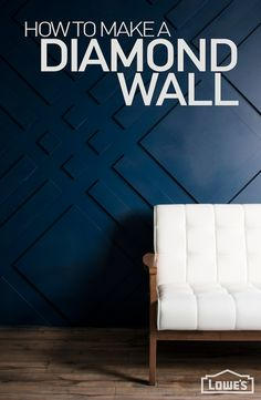 A wall treatment is a design element that packs a powerful punch. Believe it or not, this graphic feature can be done in a weekend without breaking the bank. Watch the video tutorial for this luxe-for-less diamond accent wall. Feature Wall Design, Wall Panel Design, Wall Molding, Moulding, Diamond Wall, 3d Wall Panels, Decorative Wall Panels, Wall Trim, Wall Finishes