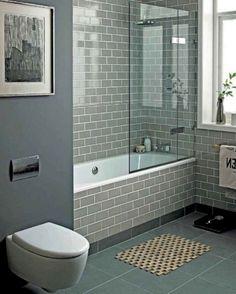 42 Pleasant Small Bathroom Shower With Tub Tile Design Ideas - Page 5 of 43 Bathroom Tile Designs, Bathroom Design Small, Bathroom Interior Design, Bathroom Tiling, Tub Tile, Bathtub Paint, Bathroom Tubs, Bathroom Sink Decor, Neutral Bathroom