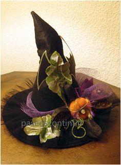 Impresionante Grande Negro las Brujas Sombrero con estrellas Diamonte Disfraz Broche-totalmente Nuevo