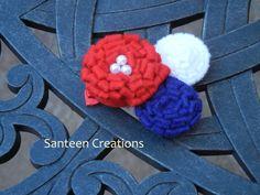 Felt Mum Flowers Hair Bow Clip $4.25 #santeen_creations