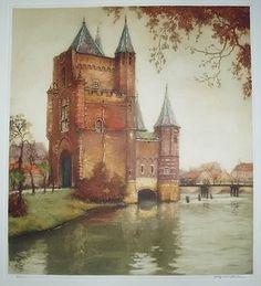 Haarlem Amsterdamsepoort, kleurets, Alfred van Neste 1874-1969 Old Pictures, Old Photos, City Painting, Holland, Netherlands, Amsterdam, Celtic, Fairy Tales, Travel Destinations