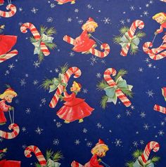 Vintage 1950'sChristmas Wrapping Paper,Little Girls and Candy Canes, NOS | eBay