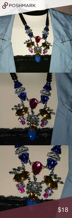 Summer ready Statement Necklace Dark silver tone necklace. Summer ready with colorful details. Blur and pink and silver rhinestones.  Expandable chain closure.  Any questions let me know. See pics for better description.  XNO TRADESX Hit me a reasonable offer. Follow me on IG @lilian.barillas Be a Trendsetter Jewelry Necklaces