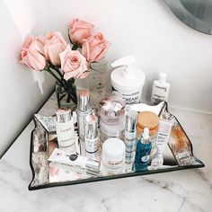 I'd love this cute little corner area in my bathroom for my skincare range.