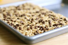 1/4 cup butter  1/4 cup honey  1/3 cup packed brown sugar  2 cups quick cooking oats {not rolled oats!}  1 cup crispy rice cereal  1/2 teaspoon vanilla  2 tablespoons mini chocolate chips
