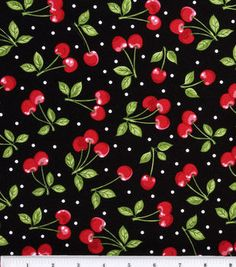 Novelty Cotton Fabric-Dots with Cherries