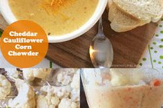 A hearty filling chowder made with cauliflower, corn, and of course cheddar cheese!