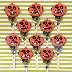10 Pumpkin Cut Outs Cake Picks Halloween Craft Picks - Floral Supplies - Folk Art - Bethany Lowe Designs - Vintage Inspired Pumpkins